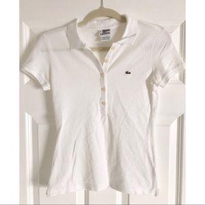 Lacoste Tops - Lacoste women's white polo shirt - US 2